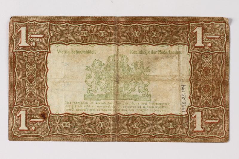 1990.23.194 back Netherlands, 1 gulden silver voucher, kept by a Dutch Jewish woman in hiding