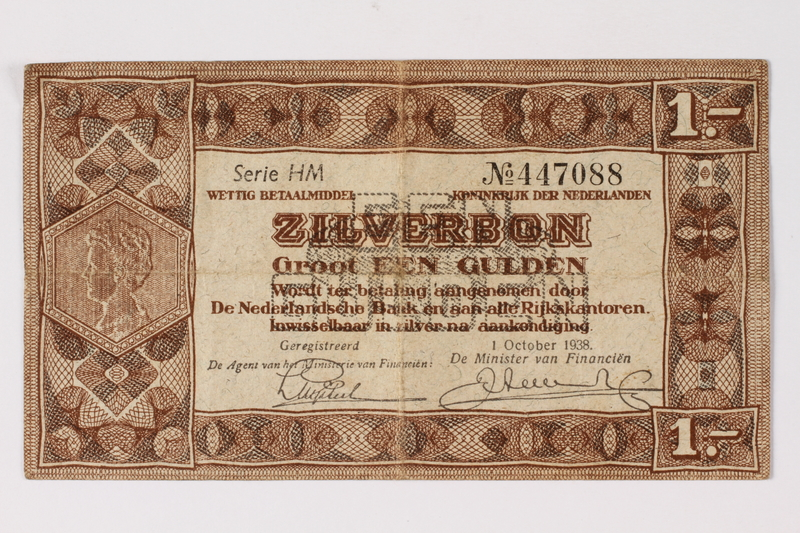 1990.23.195 front Netherlands, 1 gulden silver voucher, kept by a Dutch Jewish woman in hiding