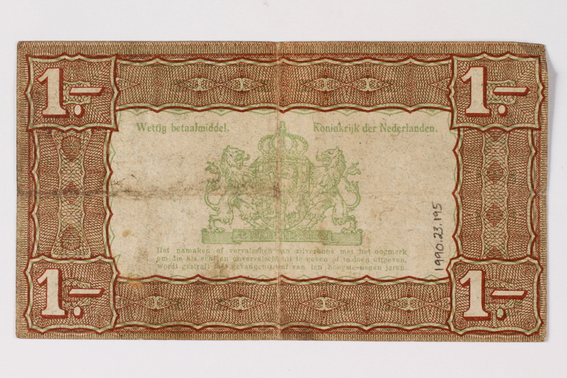 1990.23.195 back Netherlands, 1 gulden silver voucher, kept by a Dutch Jewish woman in hiding