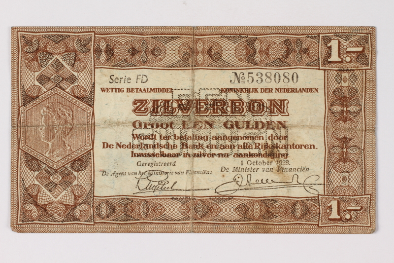 1990.23.196 front Netherlands, 1 gulden silver voucher, kept by a Dutch Jewish woman in hiding