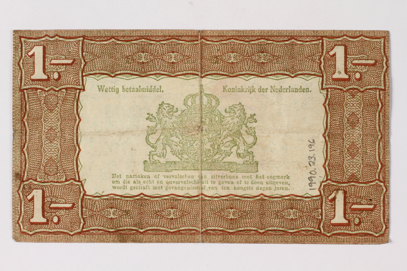 1990.23.196 back Netherlands, 1 gulden silver voucher, kept by a Dutch Jewish woman in hiding