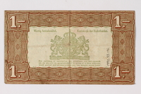 1990.23.196 back Netherlands, 1 gulden silver voucher, kept by a Dutch Jewish woman in hiding  Click to enlarge