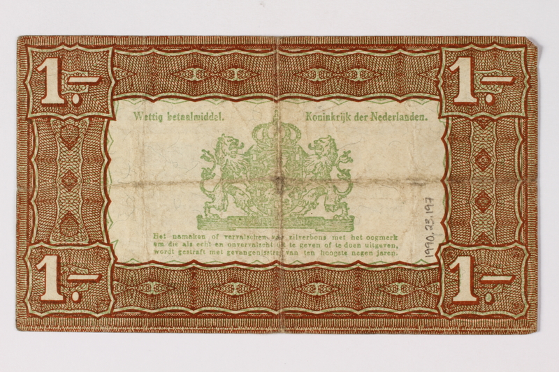1990.23.197 back Netherlands, 1 gulden silver voucher, kept by a Dutch Jewish woman in hiding