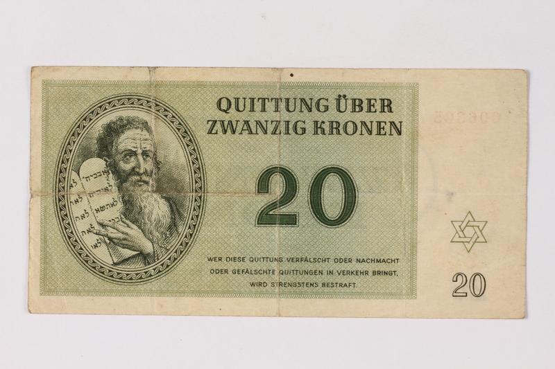 1990.23.199 front Theresienstadt ghetto-labor camp scrip, 20 kronen note