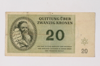 1990.23.199 front Theresienstadt ghetto-labor camp scrip, 20 kronen note  Click to enlarge