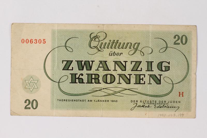 1990.23.199 back Theresienstadt ghetto-labor camp scrip, 20 kronen note