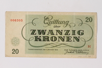 1990.23.199 back Theresienstadt ghetto-labor camp scrip, 20 kronen note  Click to enlarge