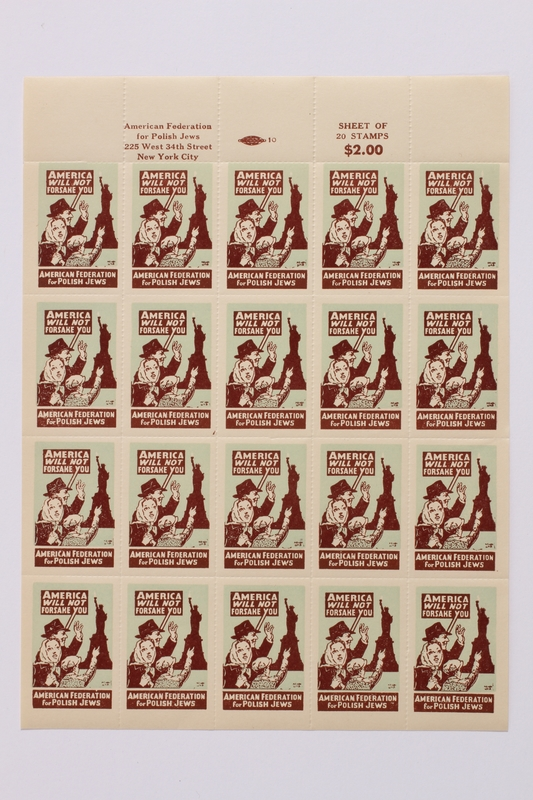 1990.232.2 front Sheet of US poster stamps addressing Polish Jews