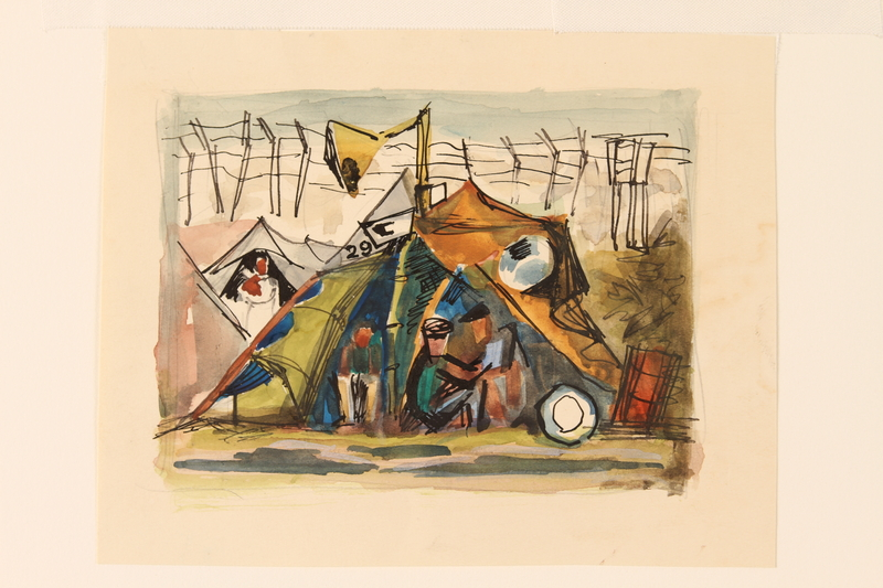 1990.242.1 front Albert Dov Sigal watercolor painting of men seated in a tent in a detention camp created during his imprisonment