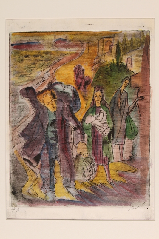 1990.242.2 front Albert Dov Sigal multicolored lithograph of a young woman, holding an infant, with her family on a golden road, based upon his experience as a refugee