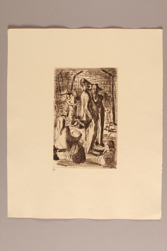 1990.242.3 front Albert Dov Sigal etching of 2 men at the detention camp fence created from a drawing done during his imprisonment