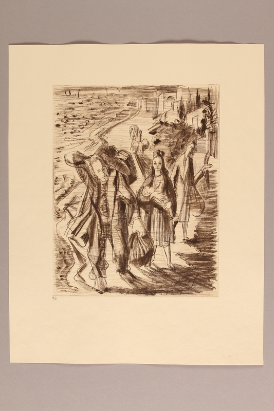 1990.242.4 front Albert Dov Sigal monochrome sepia etching of a young woman, holding an infant, with her family near the seaside based upon his experience as a refugee