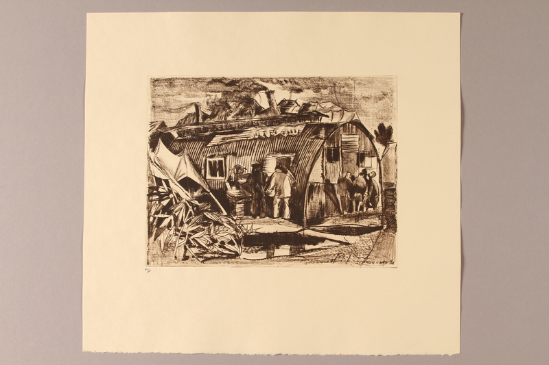 1990.242.5 front Albert Dov Sigal monochrome sepia etching of men near a metal hut in a detention camp created from a drawing done during his imprisonment