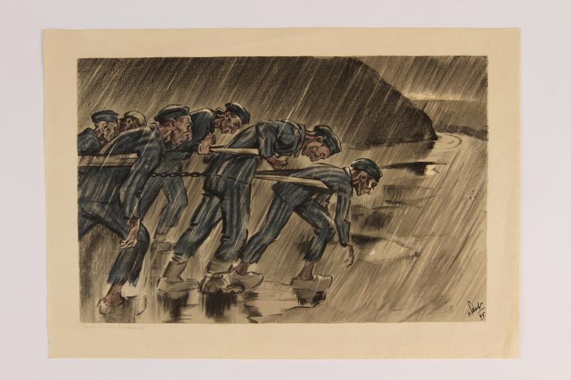 2006.508.1.5 front Henri Pieck: 7 Origineele Kleurenlitho's Van Beelden Uit Het Concentratiekamp Buchenwald