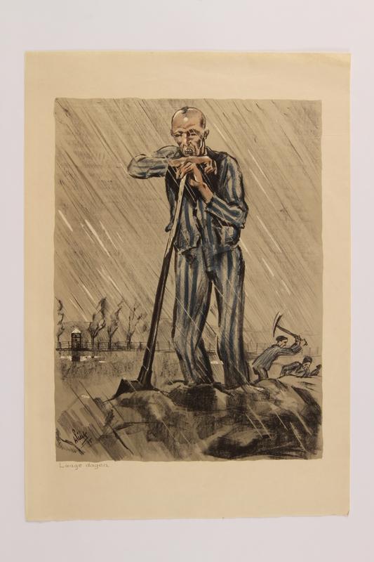 2006.508.1.7 front Henri Pieck: 7 Origineele Kleurenlitho's Van Beelden Uit Het Concentratiekamp Buchenwald