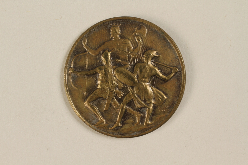1990.245.4 front Orszagos Leventeverseny medal owned by a Hungarian Jewish family