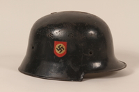 1990.262.1 right side Helmet with a swastika  Click to enlarge