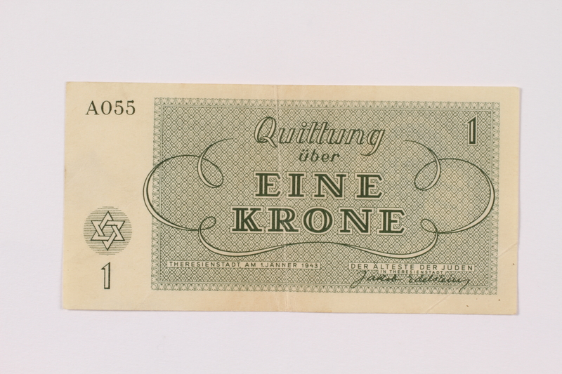 1990.265.1 back Theresienstadt ghetto-labor camp scrip, 1 krone note