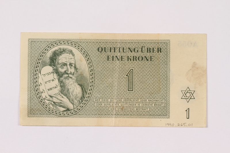 1990.265.1 front Theresienstadt ghetto-labor camp scrip, 1 krone note