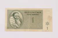 1990.265.1 front Theresienstadt ghetto-labor camp scrip, 1 krone note  Click to enlarge