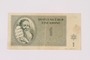 Theresienstadt ghetto-labor camp scrip, 1 krone note
