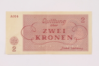 1990.265.2 back Theresienstadt ghetto-labor camp scrip, 2 kronen note  Click to enlarge