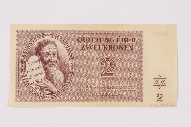 1990.265.2 front Theresienstadt ghetto-labor camp scrip, 2 kronen note
