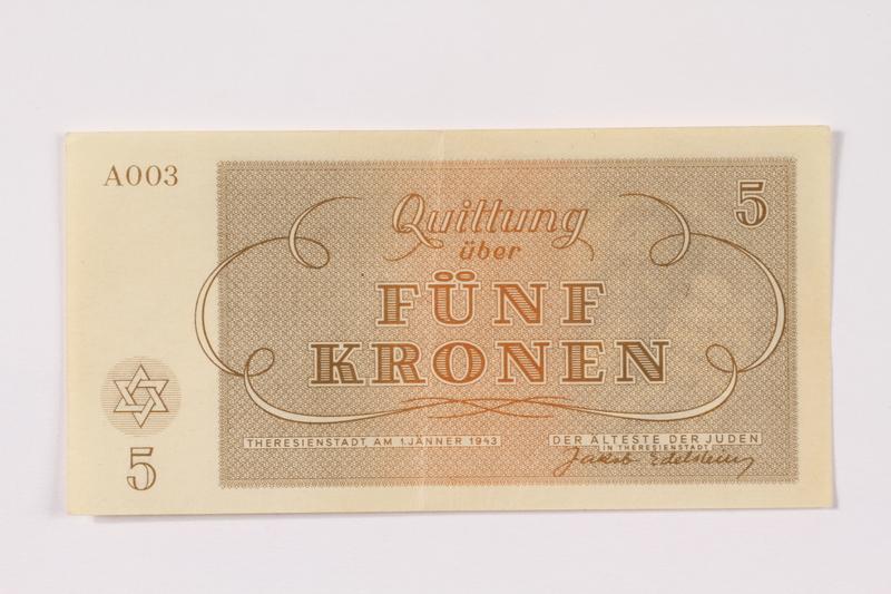 1990.265.3 back Theresienstadt ghetto-labor camp scrip, 5 kronen note