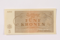 1990.265.3 back Theresienstadt ghetto-labor camp scrip, 5 kronen note  Click to enlarge