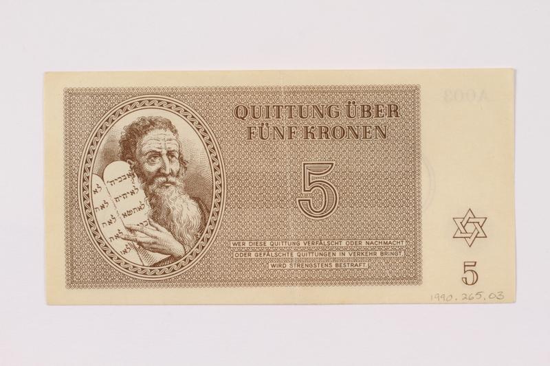 1990.265.3 front Theresienstadt ghetto-labor camp scrip, 5 kronen note