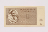 1990.265.3 front Theresienstadt ghetto-labor camp scrip, 5 kronen note  Click to enlarge