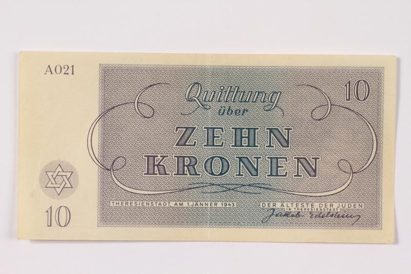1990.265.4 back Theresienstadt ghetto-labor camp scrip, 10 kronen note