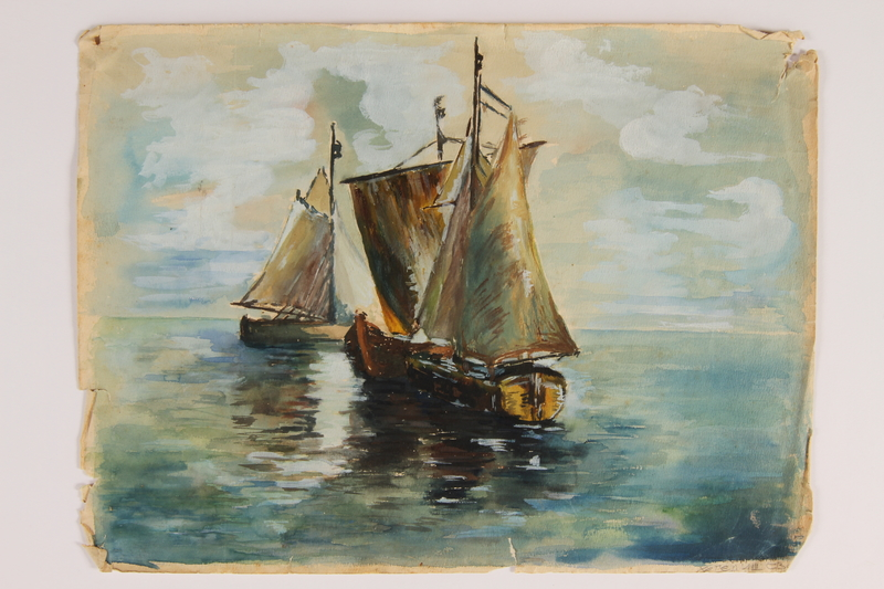 2007.521.11 front Watercolor of sailboats of Jewish refugees painted by a Jewish woman artist