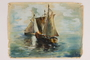 Watercolor of sailboats of Jewish refugees painted by a Jewish woman artist