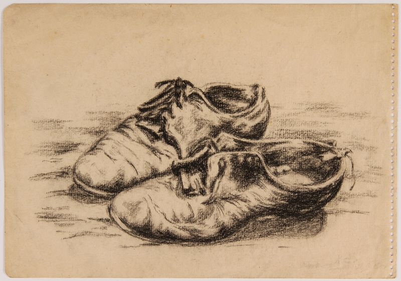 2007.521.2 front Drawing of her mother's shoes by a Jewish teenager in hiding