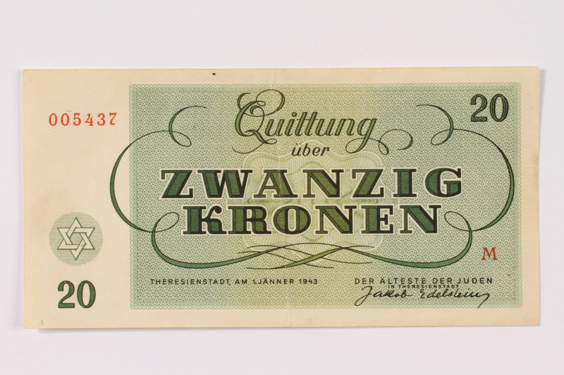 1990.265.5 back Theresienstadt ghetto-labor camp scrip, 20 kronen note