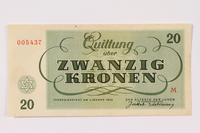 1990.265.5 back Theresienstadt ghetto-labor camp scrip, 20 kronen note  Click to enlarge