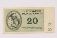 1990.265.5 front Theresienstadt ghetto-labor camp scrip, 20 kronen note  Click to enlarge