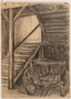 Drawing of the stairway near her hiding place by Jewish teenager
