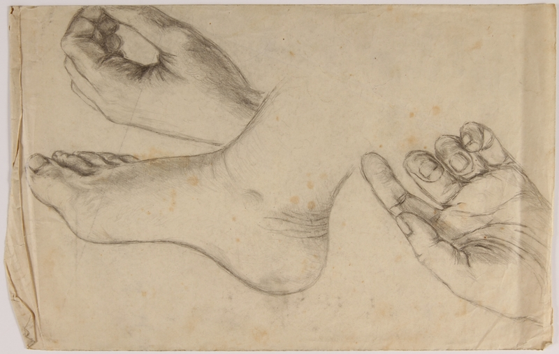 2007.521.8 front Sketches of a foot and 2 hands done in hiding by Jewish teenager