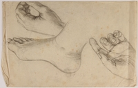 2007.521.8 front Sketches of a foot and 2 hands done in hiding by Jewish teenager  Click to enlarge