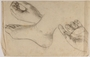 Sketches of a foot and 2 hands done in hiding by Jewish teenager