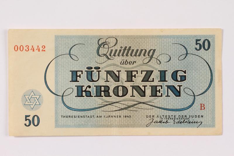1990.265.6 back Theresienstadt ghetto-labor camp scrip, 50 kronen note