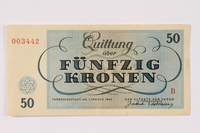 1990.265.6 back Theresienstadt ghetto-labor camp scrip, 50 kronen note  Click to enlarge
