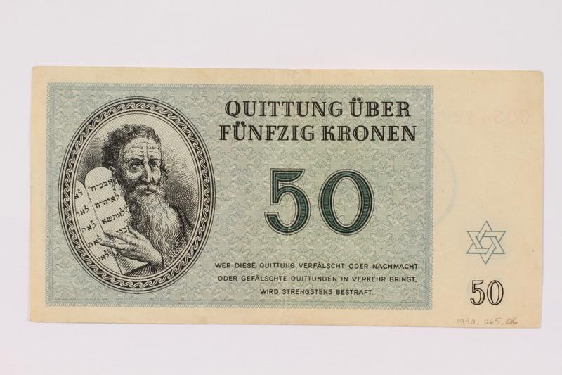 1990.265.6 front Theresienstadt ghetto-labor camp scrip, 50 kronen note