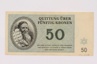 1990.265.6 front Theresienstadt ghetto-labor camp scrip, 50 kronen note  Click to enlarge