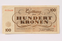 1990.265.7 back Theresienstadt ghetto-labor camp scrip, 100 kronen note  Click to enlarge