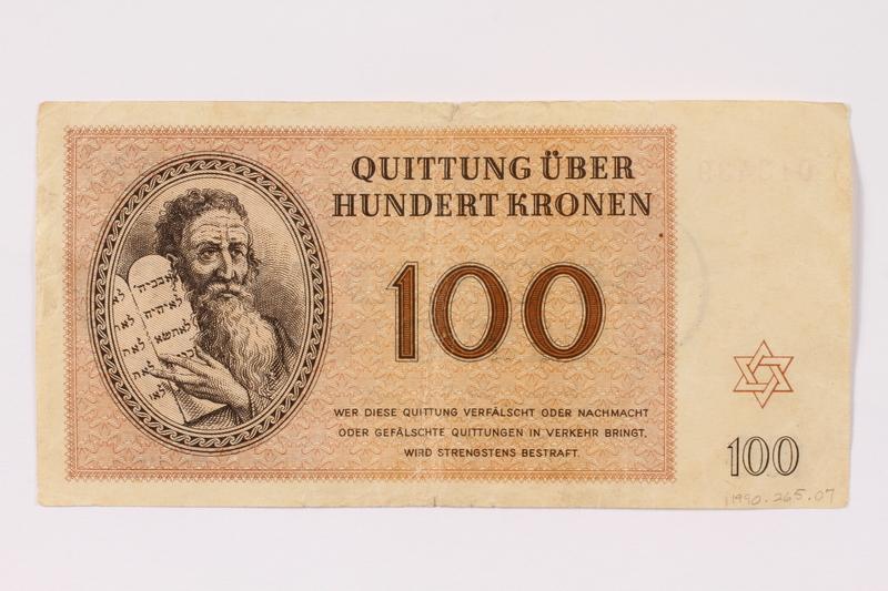 1990.265.7 front Theresienstadt ghetto-labor camp scrip, 100 kronen note