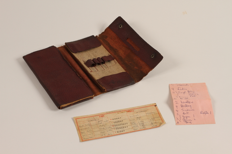 2006.492.4 a open Drafting kit with 18 drawing implements used by a Kindertransport refugee