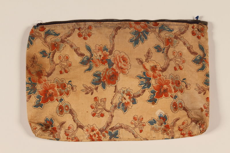 2005.492.12 front Floral pillow cover carried by a Kindertransport refugee